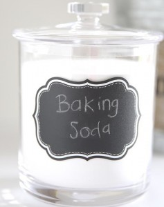 Keep a jar of baking soda on your bathroom shelf~ so many great uses!