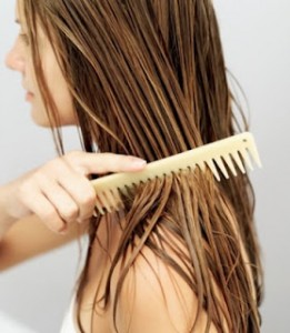 Use a wide toothed comb and work from the ends up!